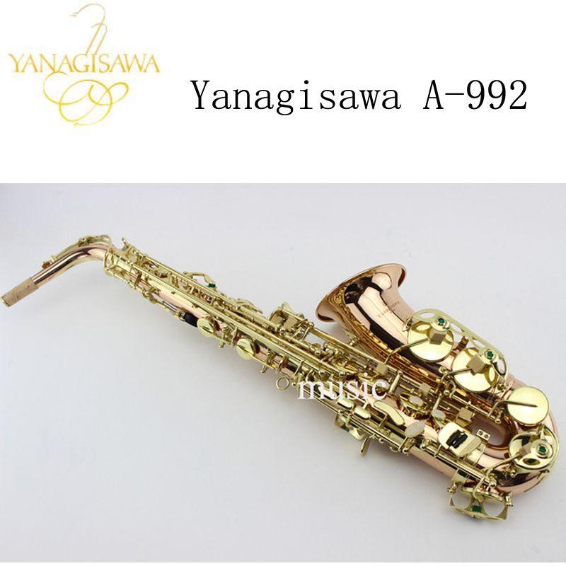 2017 NEW Japanese Yanagisawa A-992 E-flat Alto saxophone Gold Lacquer Sax Music instruments Perfect quality Free shipping