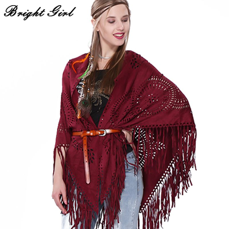 BRIGHT GIRL Women Hollow Shawl Fashion Rural Style Plum Blossom Womens Retro Cotton 3 Colors Tassel Shawls Geometric Scarf