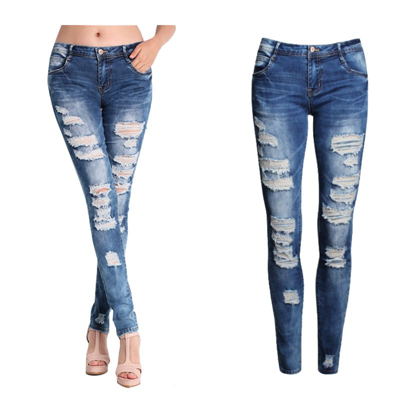 2017 nouveau femmes Jeans Femme bleu Slim déchiré Jeans pour femmes Skinny en détresse lavé Stretch Denim pantalon Femme grande taille 2XL 50