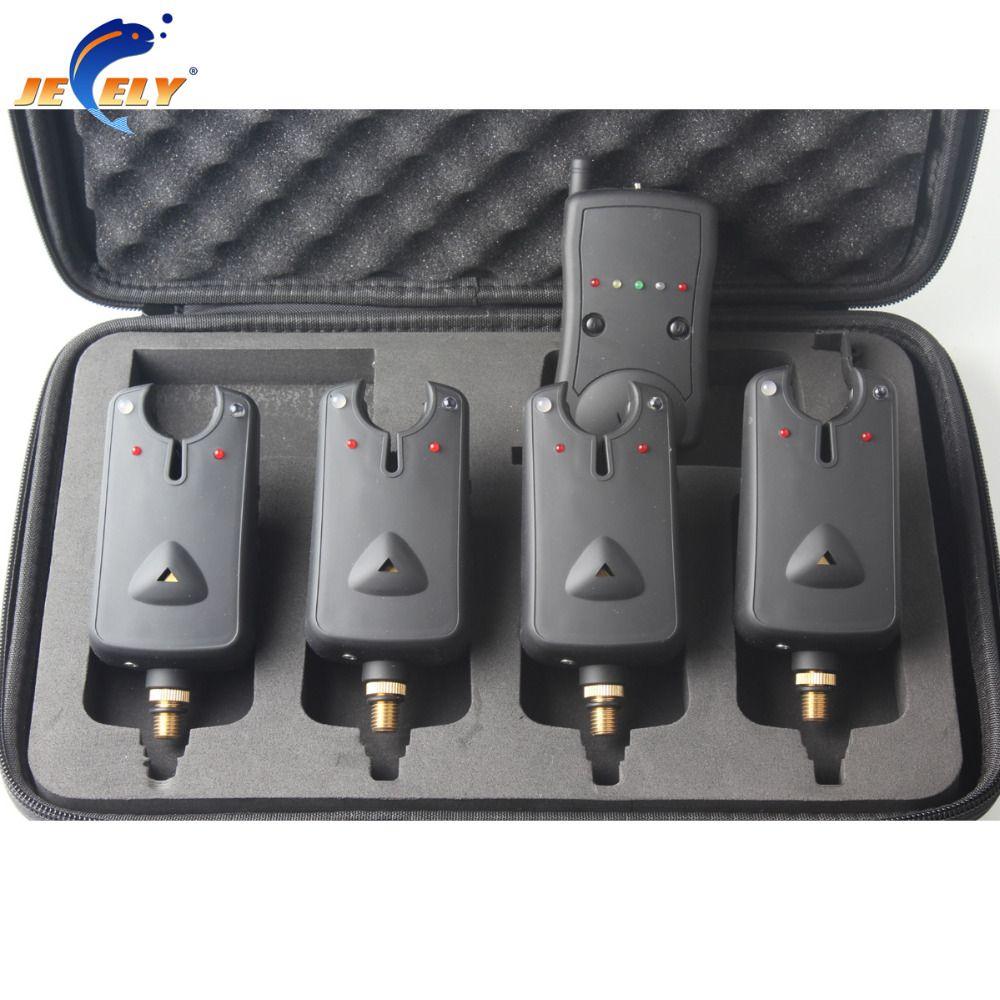 (VERSAND VON RU) freies Verschiffen JY-31 Karpfenangeln Bissanzeiger Set Karpfen Angelgerät (4 Alarme + 1 Empfänger) für swinger box