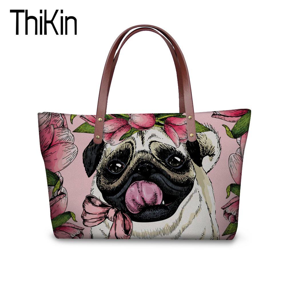 THIKIN Women Shopper Bag Canada Designer Bags Pug Pattern Handbags for Women Casual Tote Famous Brands Girls Big Beach Bags