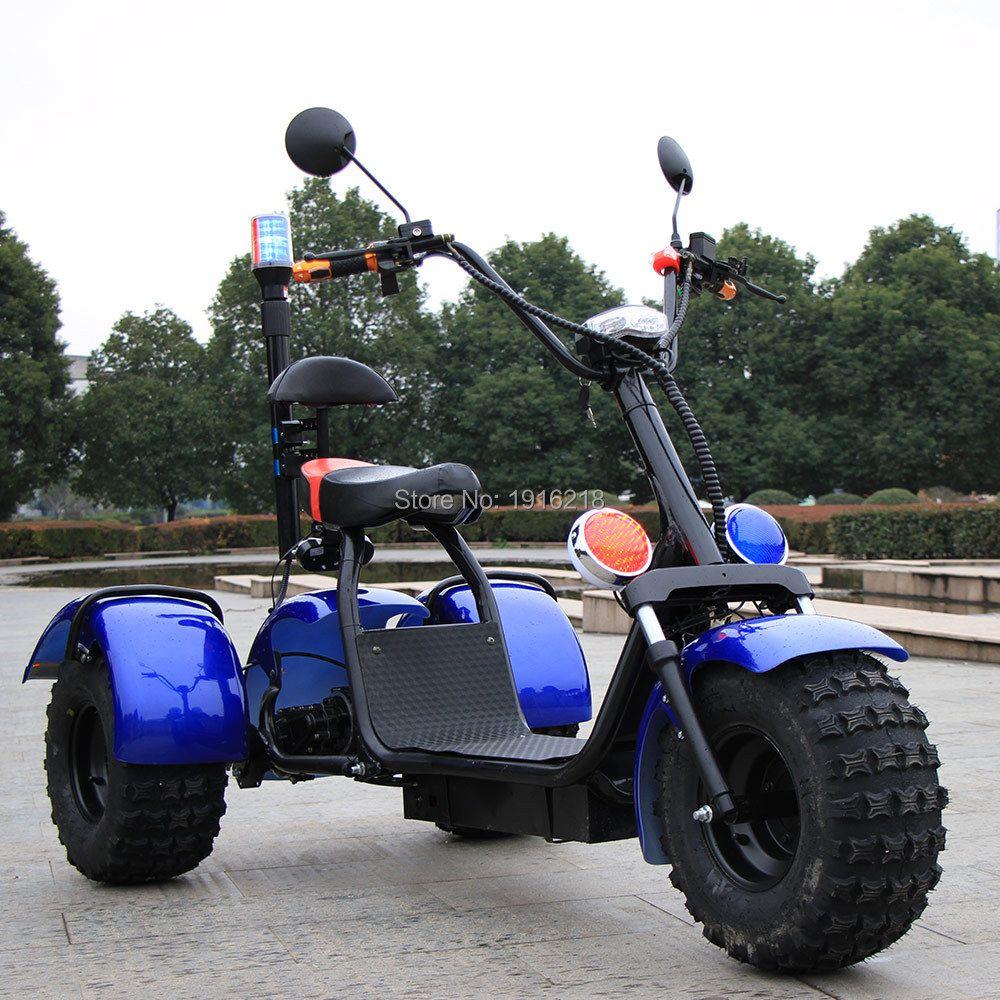 60V20AH Batterie Au Lithium Électrique Moto Scooter Double Choc Absorbeur 3 roues Pneu Large Grande Roue Ville Scooters