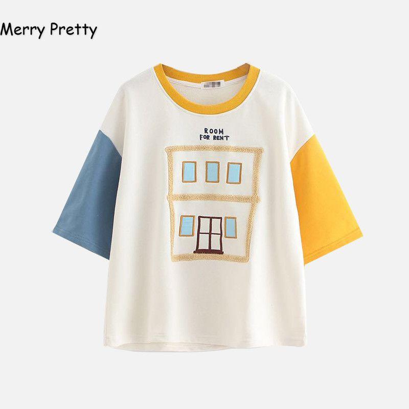 Joyeux joli été t-shirt femmes mode harajuku demi manches patchwork broderie coton t-shirt hauts mignon t-shirt camisetas mujer