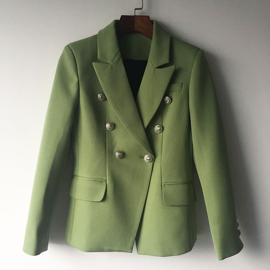 HIGH QUALITY New Fashion 2017 Designer Blazer Jacket Women's Lion Metal Buttons Double Breasted Blazer Outer Coat Green