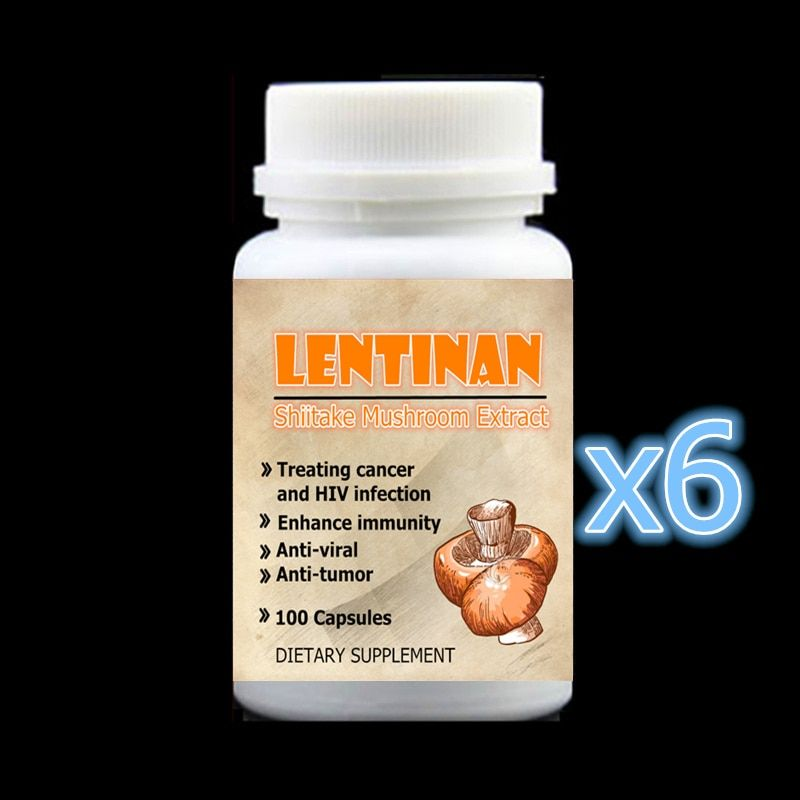 6 bottle 600pcs,Shiitake Mushroom Extract with Lentinan For Anti Cancer and HIV Infection Enhance immunity Anti-viral Anti-tumor