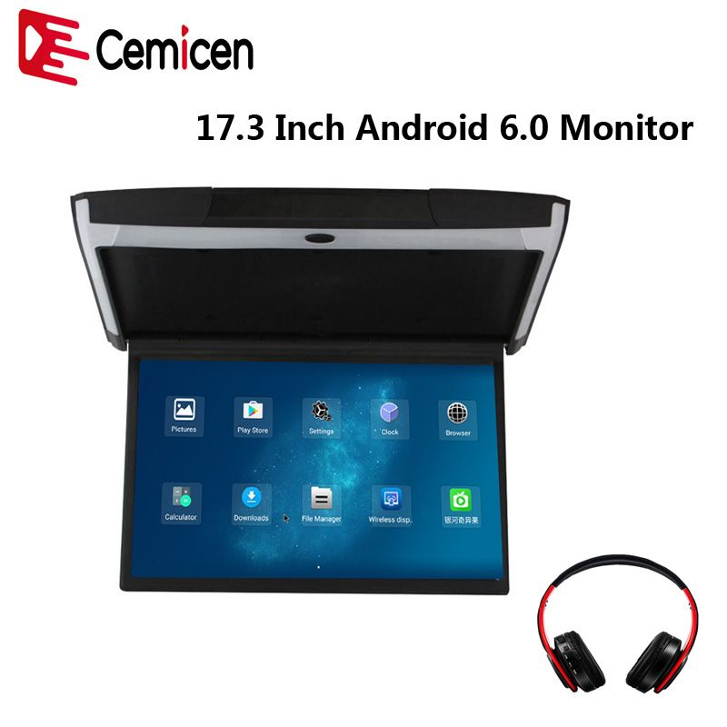 Cemicen 17.3 Inch Android 6.0 Car Monitor Ceiling Mount Roof 1080P Video IPS Screen WIFI/HDMI/USB/SD/FM/Bluetooth/Speaker/Game