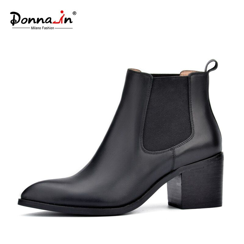 Donna-в Новинка 2017 года, стильное кожаные ботильоны с острым носком толстый каблук эластичный Женские короткие ботинки женская обувь больших ...