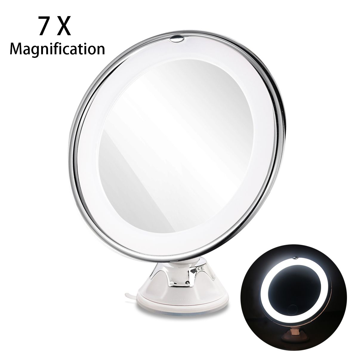 RUIMIO 7X Magnifying MIrrors Cosmetic Makeup Mirror With Power Locking Suction Cup Bright Diffused Light 360 <font><b>Degree</b></font> Rotating