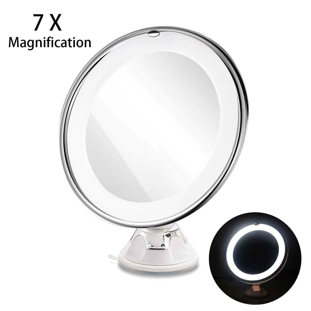 RUIMIO 7X Magnifying MIrrors Cosmetic Makeup Mirror With Power Locking Suction Cup <font><b>Bright</b></font> Diffused Light 360 Degree Rotating