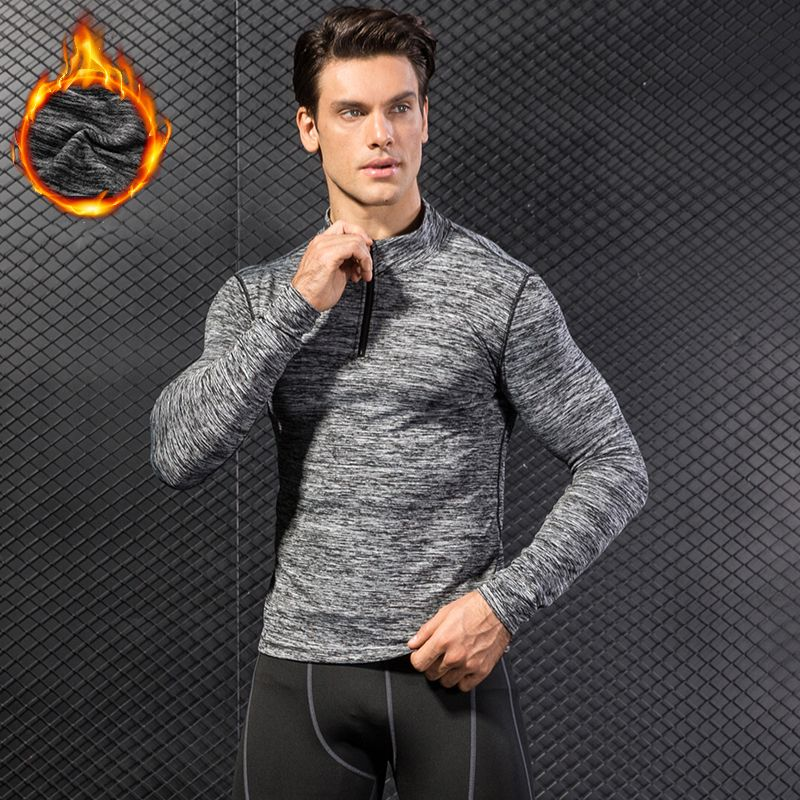 YEL New Thermal Long Sleeve Running T shirt Men Football Jersey Sport Shirt Men's Sportswear Quick Dry Men's T-shirts Rashgard