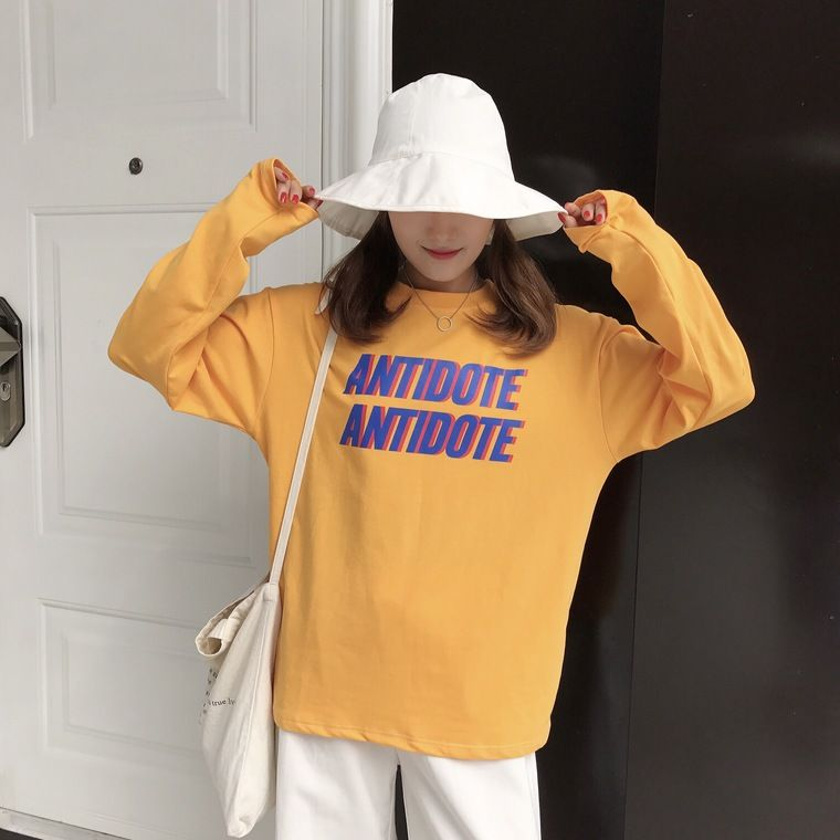 2017 Autunm New Fashion Letter Printed Simple Loose All Match Long Sleeve Basic Halajuku Female T-shirts