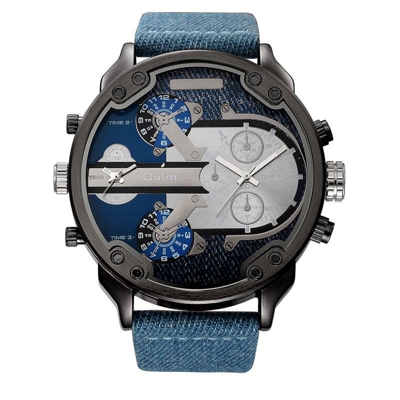 Oulm Denim Bleu 2 Fuseau horaire Quartz Montre Mâle Grand Grand Style PU En Cuir Casual Hommes de Montre-Bracelet Top Marque Hommes Sport Montres