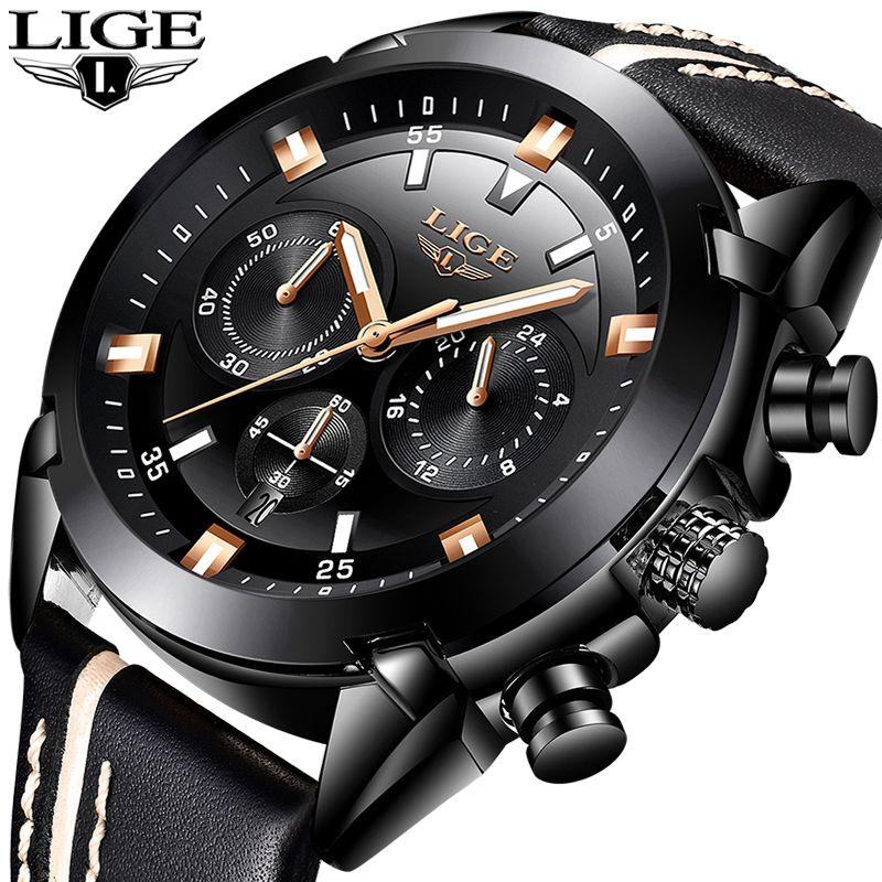 Relojes Hombre 2018 New LIGE Mens Watches Top Brand Luxury Waterproof 24 hour Date Quartz Watch Man Leather Sport WristWatch+Box