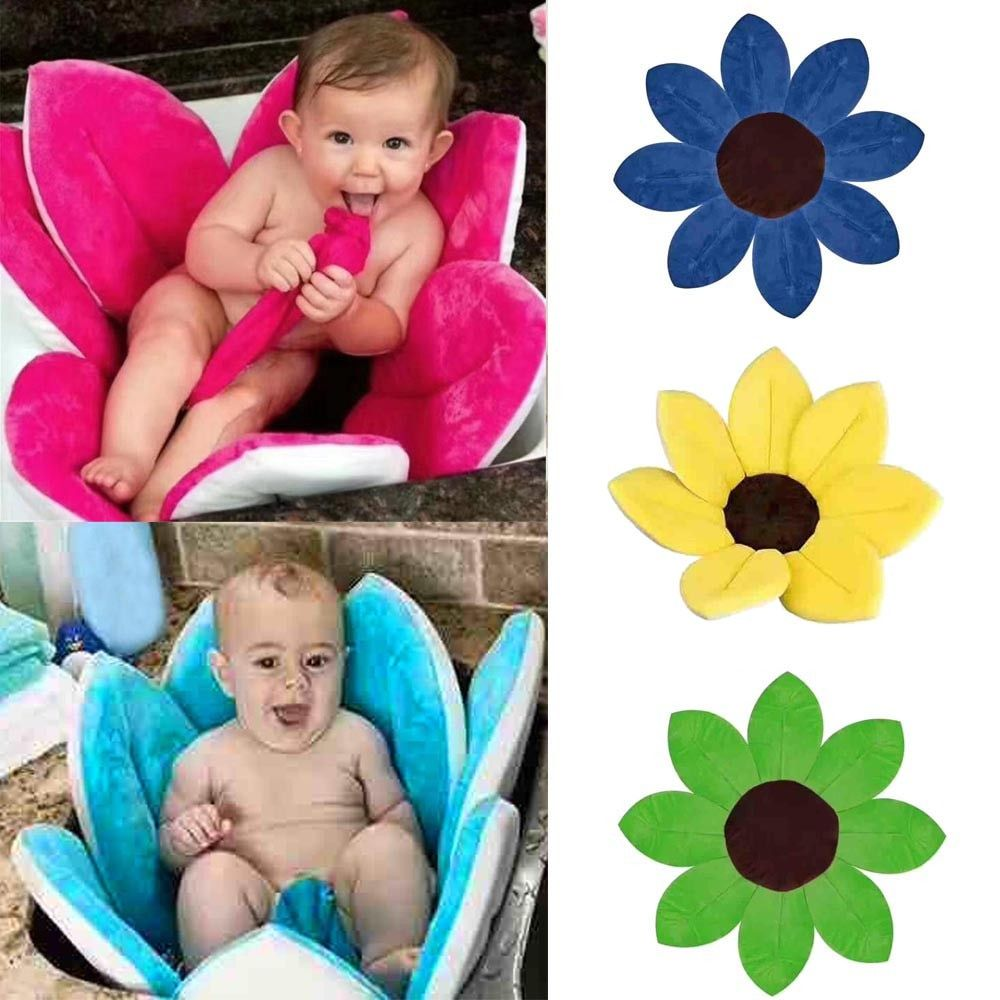 Newborn Baby Bathtub Foldable Blooming Bath Flower Bath Tub for Baby Blooming Sink Bath For Baby Play Bath Sunflower Cushion mat