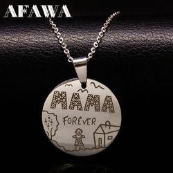 Familia collares Acero inoxidable Mama Forever Boy Girl colgantes collar joyería mujeres niños familia regalo de Navidad N2407