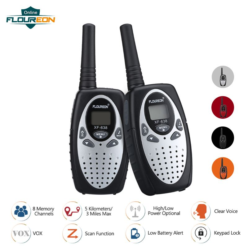 FLOUREON 8 Channel Children Walkie Talkies UHF400-470MHz 2-Way Radio 3KM Interphone PMR Handheld Kid Play Intercom Walkie Talkie