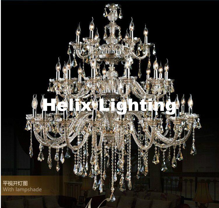 Freies Verschiffen D1500mm H2000mm 35L kristall Luxus Champagner licht K9 mode kronleuchter Kristall Top Grade K9 Kronleuchter Beleuchtung