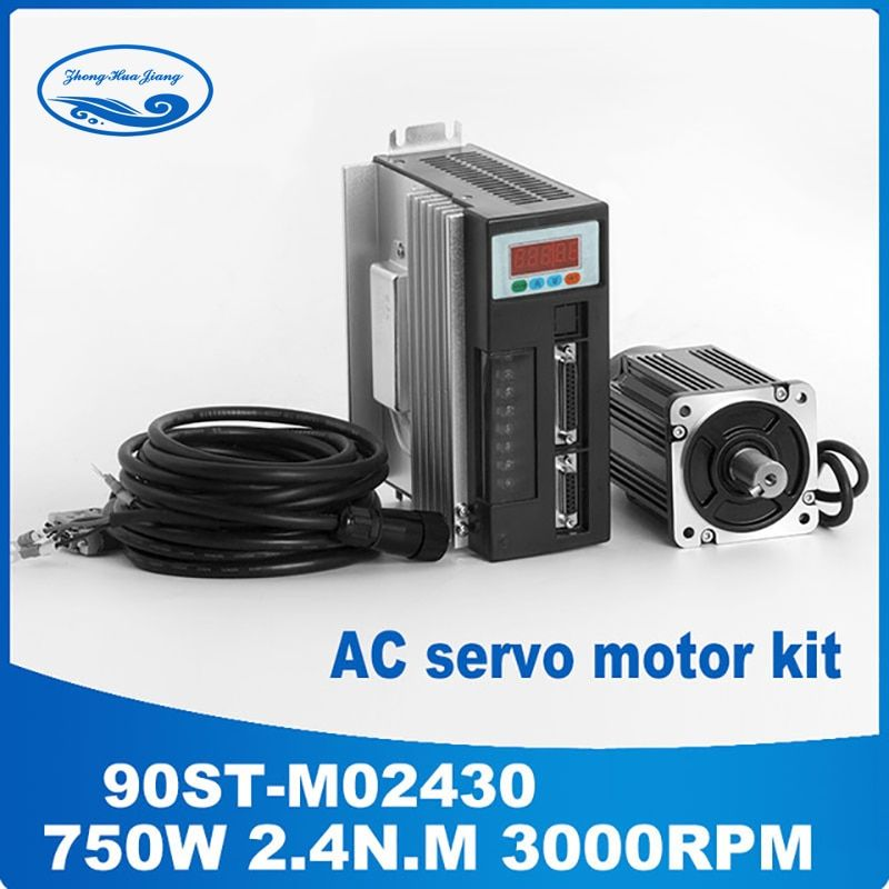 90ST-M02430 220V 750W AC Servo motor 3000RPM 2.4 N.M. 0.75KW Single-Phase ac drive permanent magnet Matched Driver