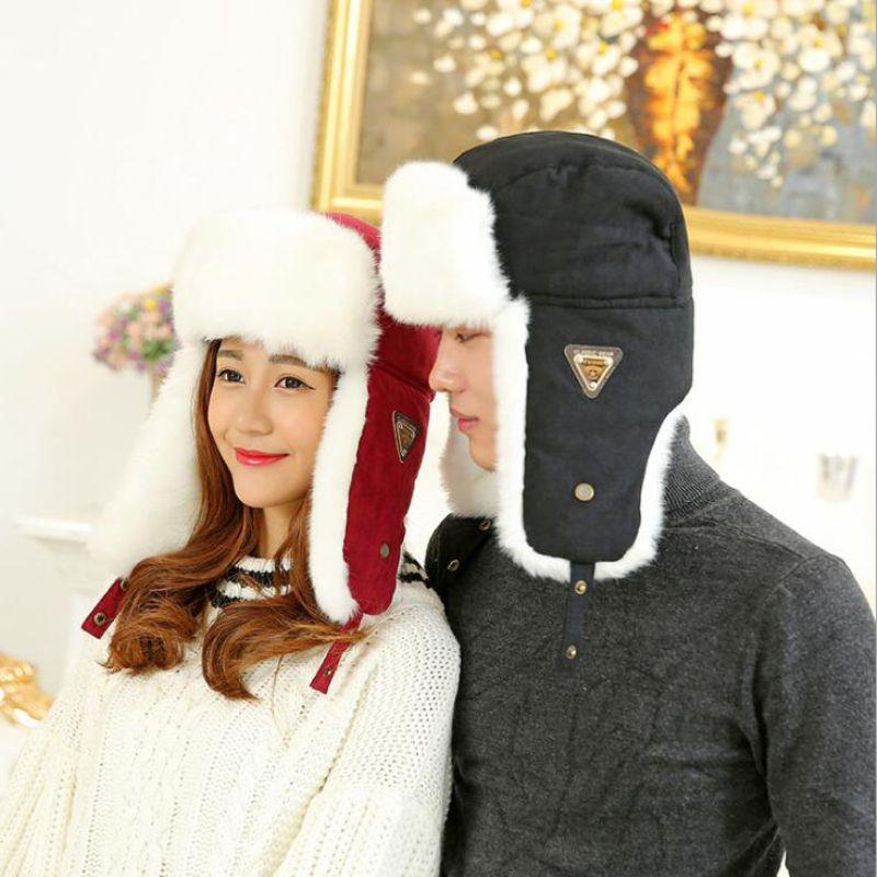 HT533 classique solide hiver chapeau pour hommes femmes unisexe noir Earflap chapeau casquette russe fourrure chapeau Ushanka Bomber chapeau hommes femmes Bomber