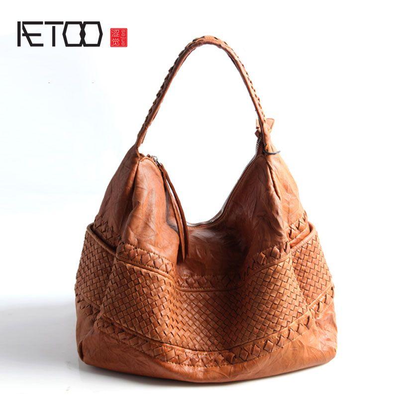 AETOO Pure leather Europe and the United States Japan South Korea fashion handmade retro weaving single shoulder