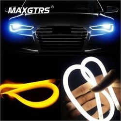 2x30 45 cm 60 cm 85 cm diurna Correr luz universal flexible Soft tube guía car LED tira blanco DRL amarillo Luz de señal de giro