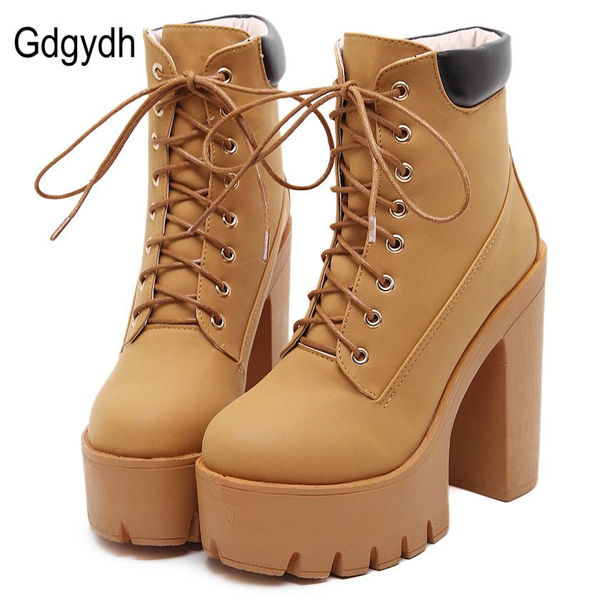 Gdgydh Fashion Spring Autumn Platform Ankle Boots Women Lace Up Thick Heel Platform Boots Ladies Worker Boots Black Big Size 42