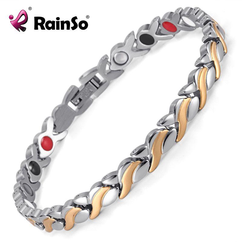 Rainso Santé Magnétique Bracelet Pour Les Femmes En Acier Inoxydable Bracelets & Bangles avec Germanium de Santé Lien Chaîne Bracelets 1551