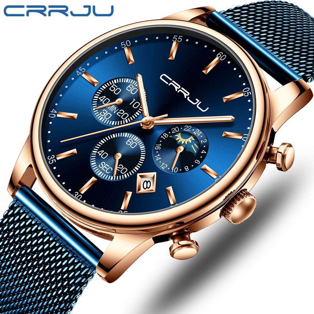 CRRJU hommes montre Reloj Hombre 2019 hommes montres Top marque de luxe Quartz montre grand cadran Sport étanche Relogio Masculino Saat