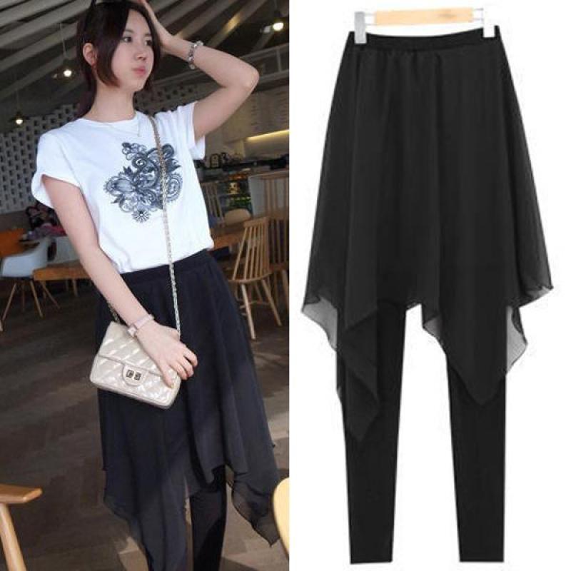 2019 nouveau printemps et été femmes coréenne irrégulière en mousseline de soie jupe support faux deux Xl Slim jupe Leggings livraison gratuite