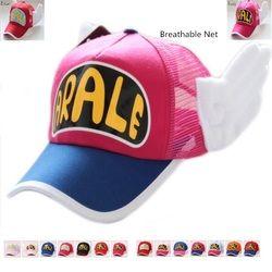 Neue Kommende Anime Cosplay Atmungs Net Kappe Hüte Dr. slump Arale Engel Flügel Sommer Bunte Mesh Cap für Erwachsene Größe Verstellbar