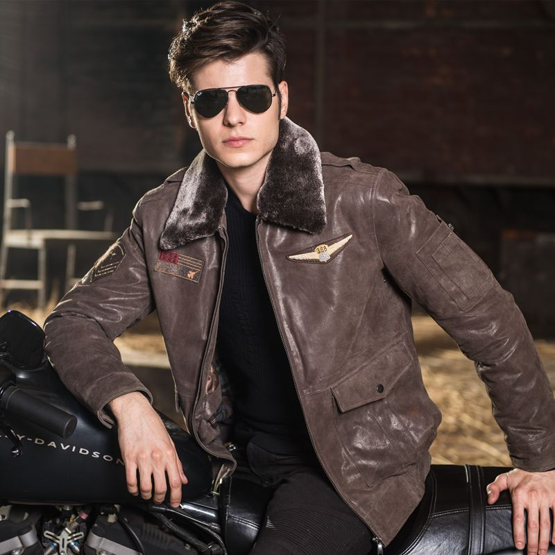 Men's real leather jacket pigskin air force jackets Motorcycle Genuine Leather Aviator jacket men leather coat bomber jacket