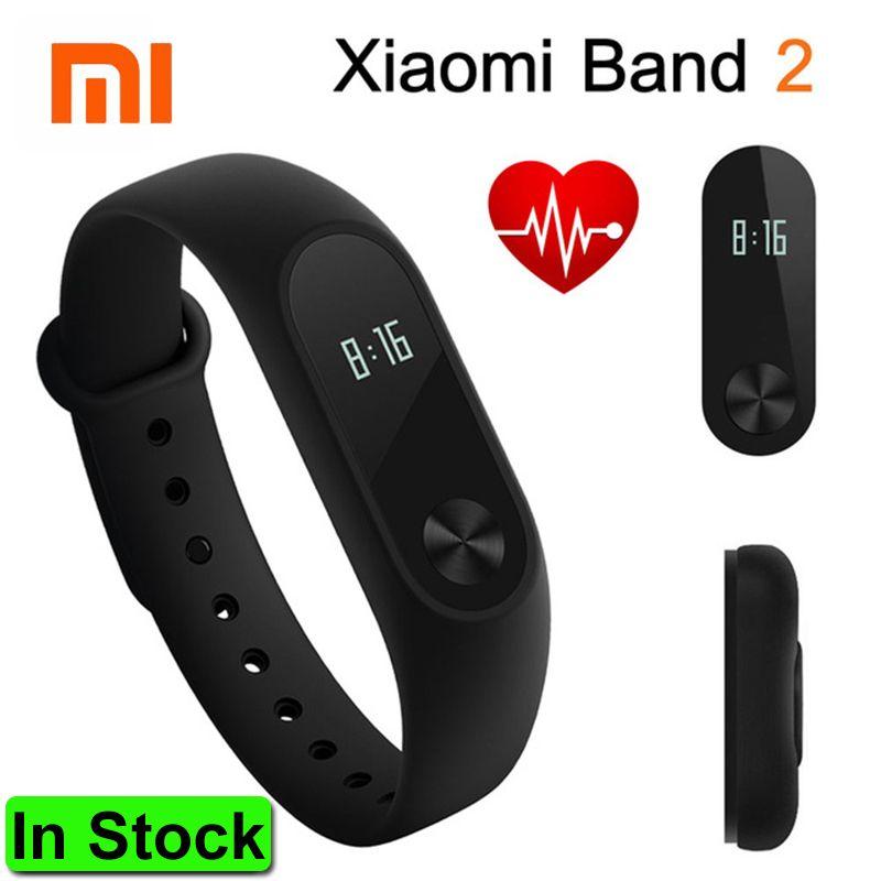 En Stock 2016 D'origine Xiaomi Mi Bande 2 Bracelet À Puce Bracelet Band2 Horloge Écran OLED Touchpad Pulse Taux IP67 remise en forme