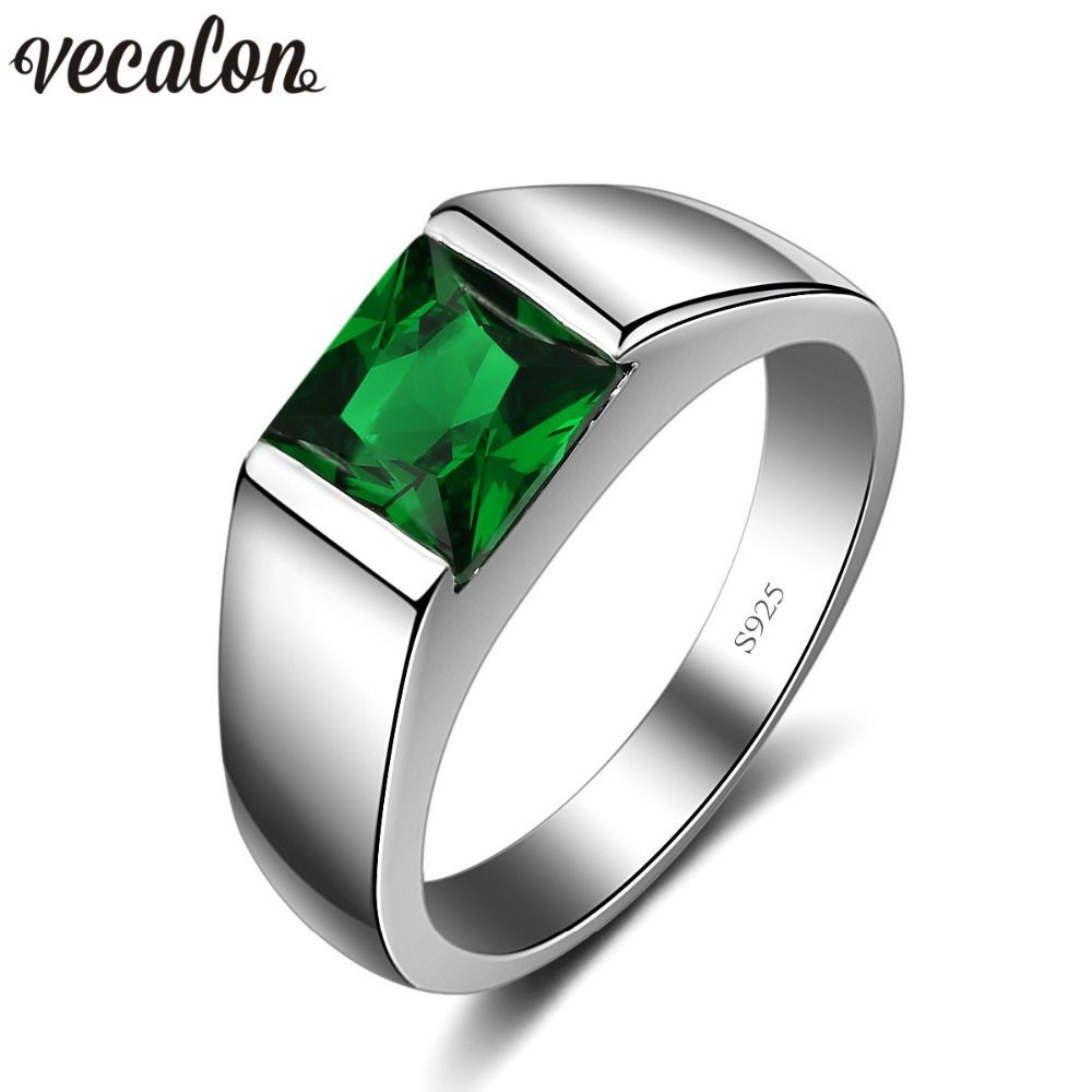 Vecalon Fine Green Birthstone Men rings Princess cut 3ct 5A Zircon Cz 925 sterling silver Engagement wedding Band ring for men