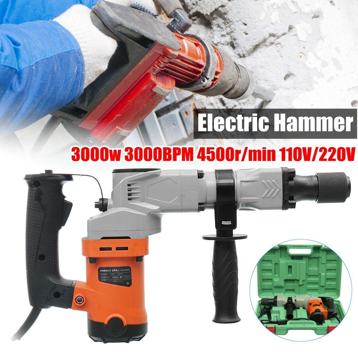 220V Electric Drills 3000W Electric Demolition Hammer Drill Concrete Breaker Punch Jackhammer 3000BPM
