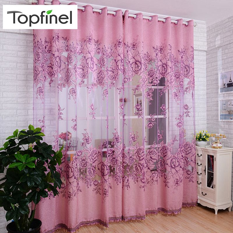 Topfinel luxe Jacquard brodé rideaux transparents pour salon chambre fenêtre Tulle rideaux Floral Style Design 1 panneau