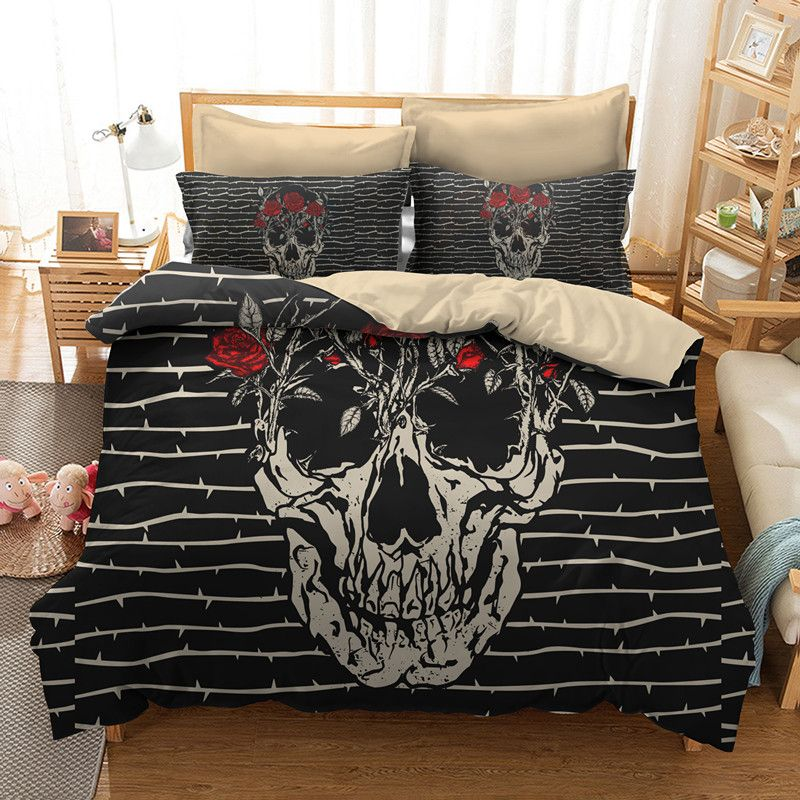 FANAIJIA 3d Sugar Skull Duvet Cover with Pillowcases Skull Luxury Bedding Sets Queen Size Bed Sets