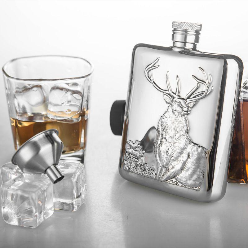 Haute Qualité 6 oz Flacon de Hanche D'acier Inoxydable Personnalisé avec Entonnoir Alcool Flacon Whisky Flacon Bar Outils Cadeaux Flacons avec boîte