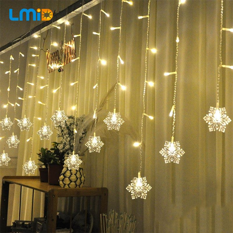 LMID Holiday Lighting 2M*0.6M 60LED Snowflake Home Xmas Decoration Christmas Lights Outdoor Waterproof Fairy Curtain String <font><b>Lamp</b></font>