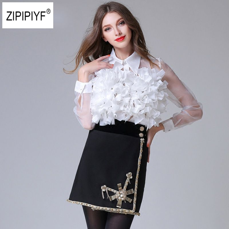 New arrival 2018 3d flower Spliced shirts perspectivity personalized organza long-sleeve Transparent Sexy shirt female top B1090