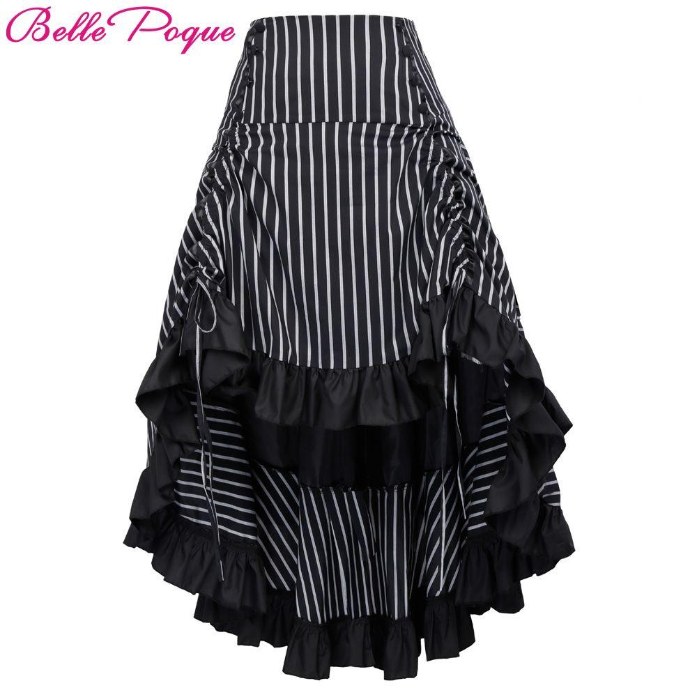 Belle Poque Steampunk Skirt Summer Autumn Women Sexy Striped Irregular Ladies Long Ruffled Vintage Victorian Gothic Punk Skirts