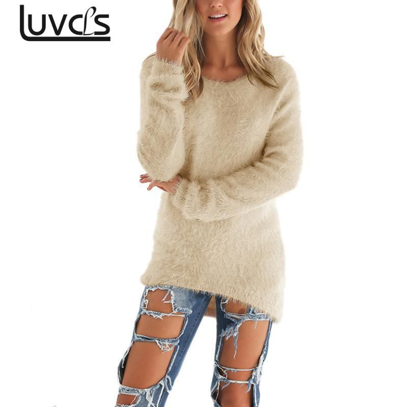 LUVCLS Long Sleeve O-neck Cardigan Women Fashion Autumn Loose Cardigan Knitted Sweater Pullover Knitwear Outwear Coat Femme