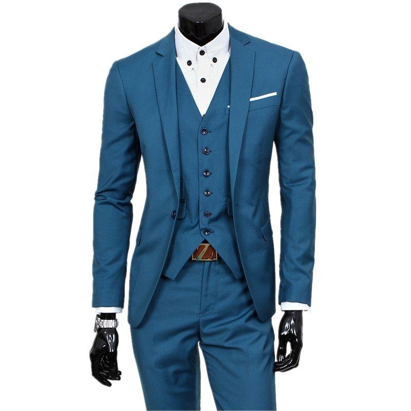 Suit jacket + Vest + trousers/ Three-piece sets / 2018 new men's one button wedding blazers coat / Men's waistcoat and pants