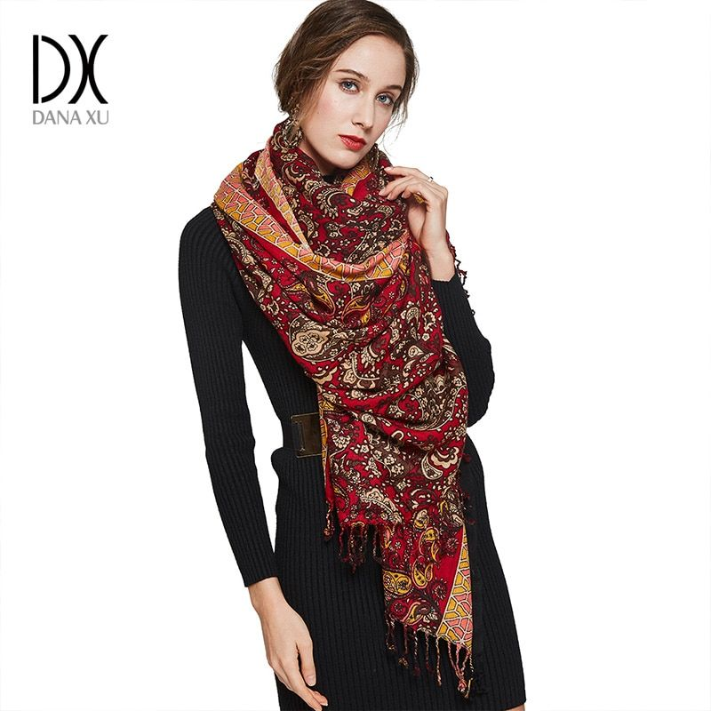Luxury Brand Scarf Unisex Female Male High Quality Wool Cashmere Scarf Pashmina Tassels Women Men Wrap Pashmina Shawl Bandana