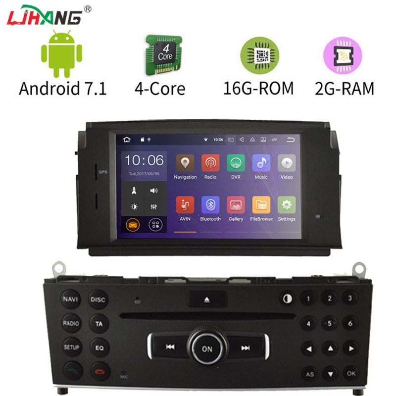 LIHANG Android 7.1 Car DVD Multimedia Player For Mercedes Benz C200 C180 W204 2007-2013 GPS Radio headunit Stereo WIFI 2G+16G