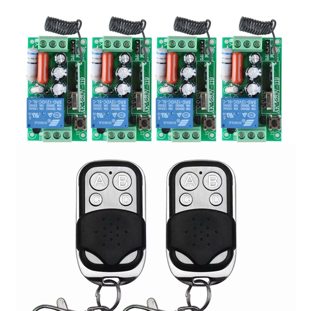 4 Receiver + 2 Transmitter AC 220V 10A Wireless Remote Control Wireless Light Switch System In 433.92Mhz