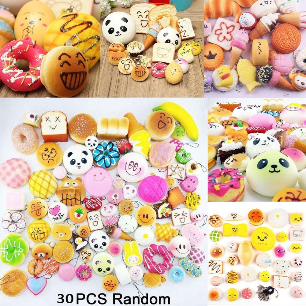 30/20/10 pcs DIY Soft Funny Squishy Slow Rising Jumbo Squeeze Toast Cake Bread Panda ice Cream Cell Phone Straps Toy Decoration