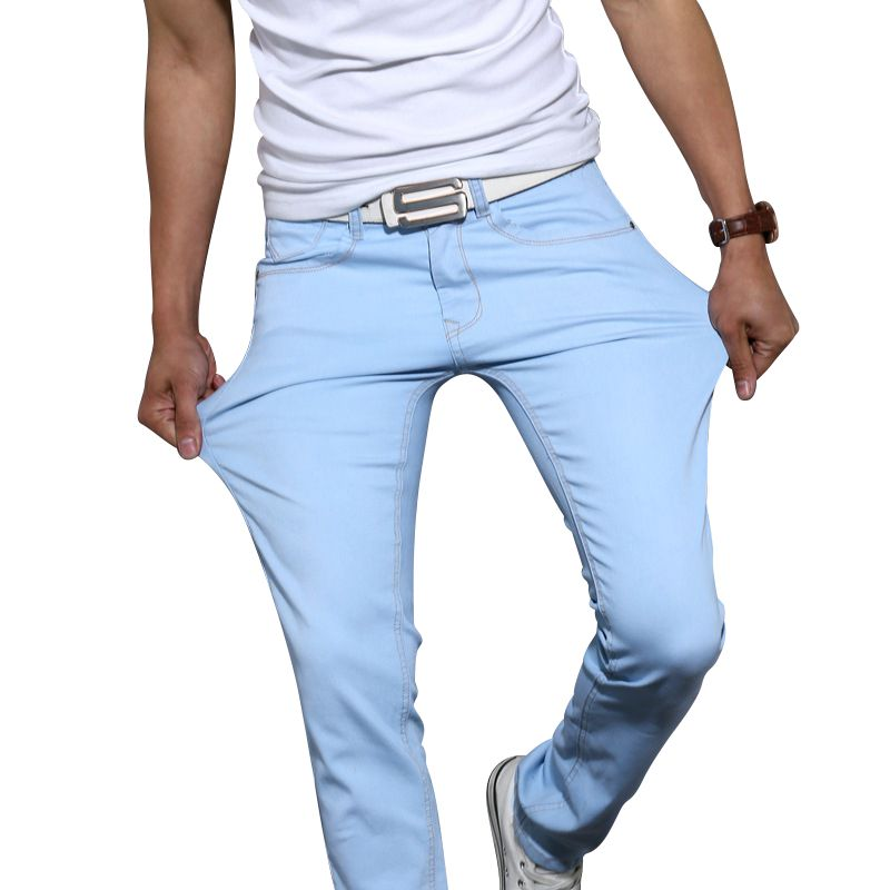 Men's high quality cotton stretch skinny jeans 2017 fashion brand trousers sky blue white black blue brown khaki pants 28 to 38