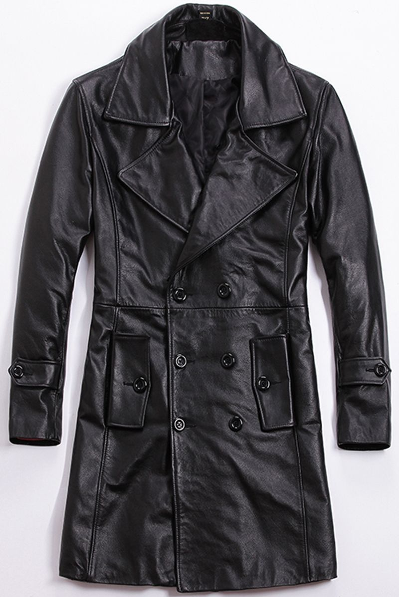 Free shipping.winter plus size Brand classics men warm cow leather Jackets,men's genuine Leather casual long jacket.