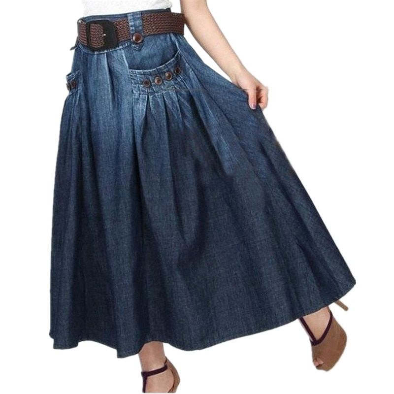 Livraison gratuite 2019 nouvelle mode été Denim all-match en vrac jeans décontractés jupe élastique taille longue jupe pour les femmes avec ceinture S-XL