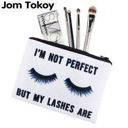 Jom Tokoy Cils blanc 3D Impression simple maquillage sac neceser cas Cosmétique femmes trousse de maquillage organisateur crayon cas